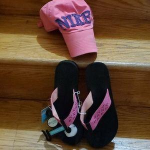 Nike Cap & Flip Flops BUNDLE - M-7/8 - $10